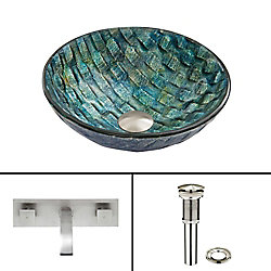 VIGO Glass Vessel Sink in Oceania with Titus Wall-Mount Faucet in Brushed Nickel