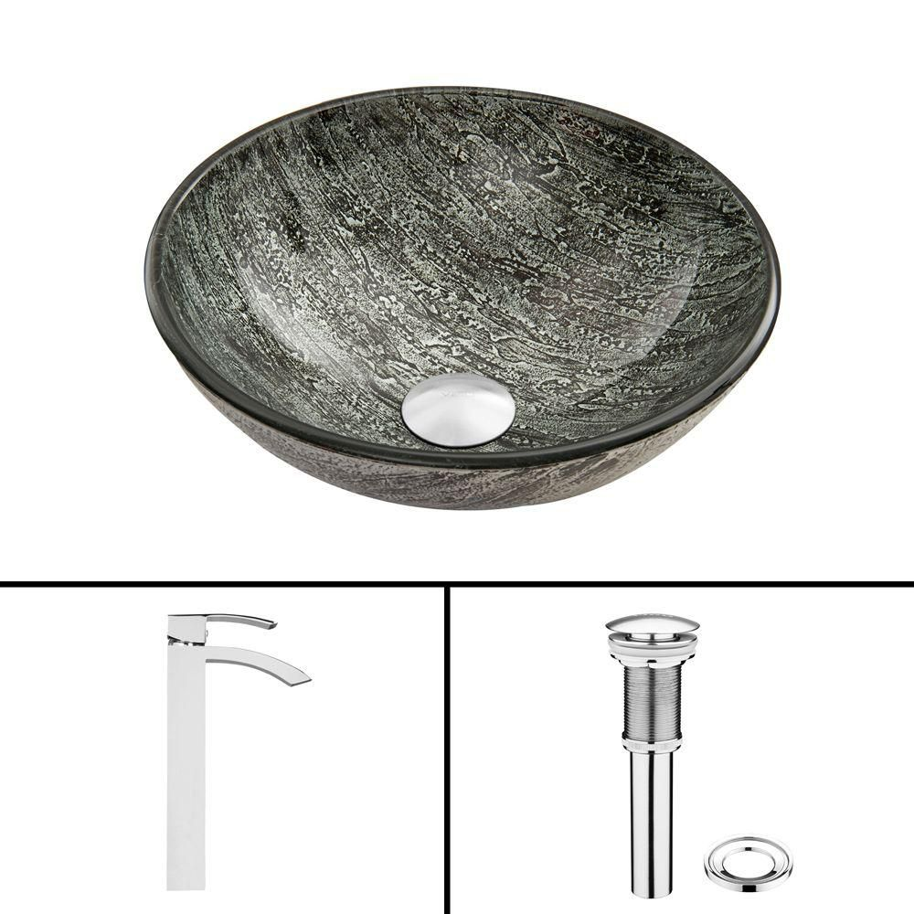 Glass Vessel Sink in Titanium with Duris Faucet in Chrome