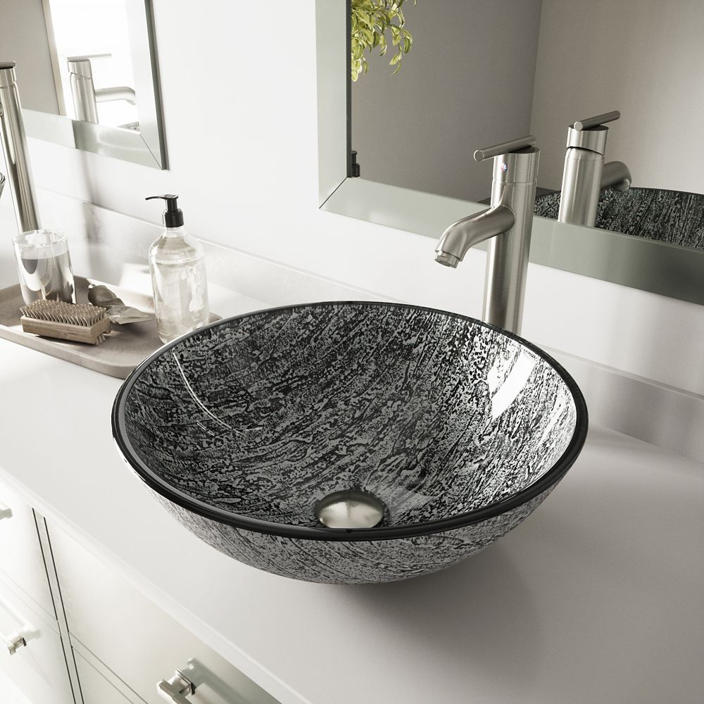 Glass Vessel Sink in Titanium with Seville Faucet in Brushed Nickel