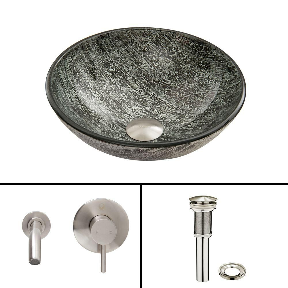 Glass Vessel Sink in Titanium with Olus Wall-Mount Faucet in Brushed Nickel