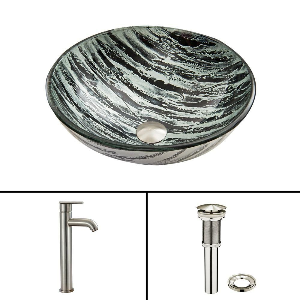 Glass Vessel Sink in Rising Moon with Seville Faucet in Brushed Nickel