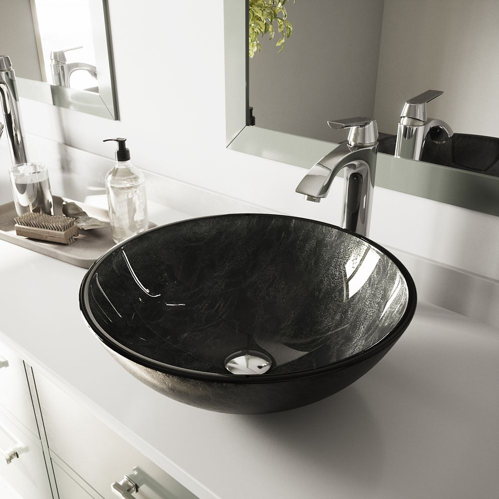 Vigo Glass Vessel Sink in Gray Onyx with Linus Faucet in Chrome