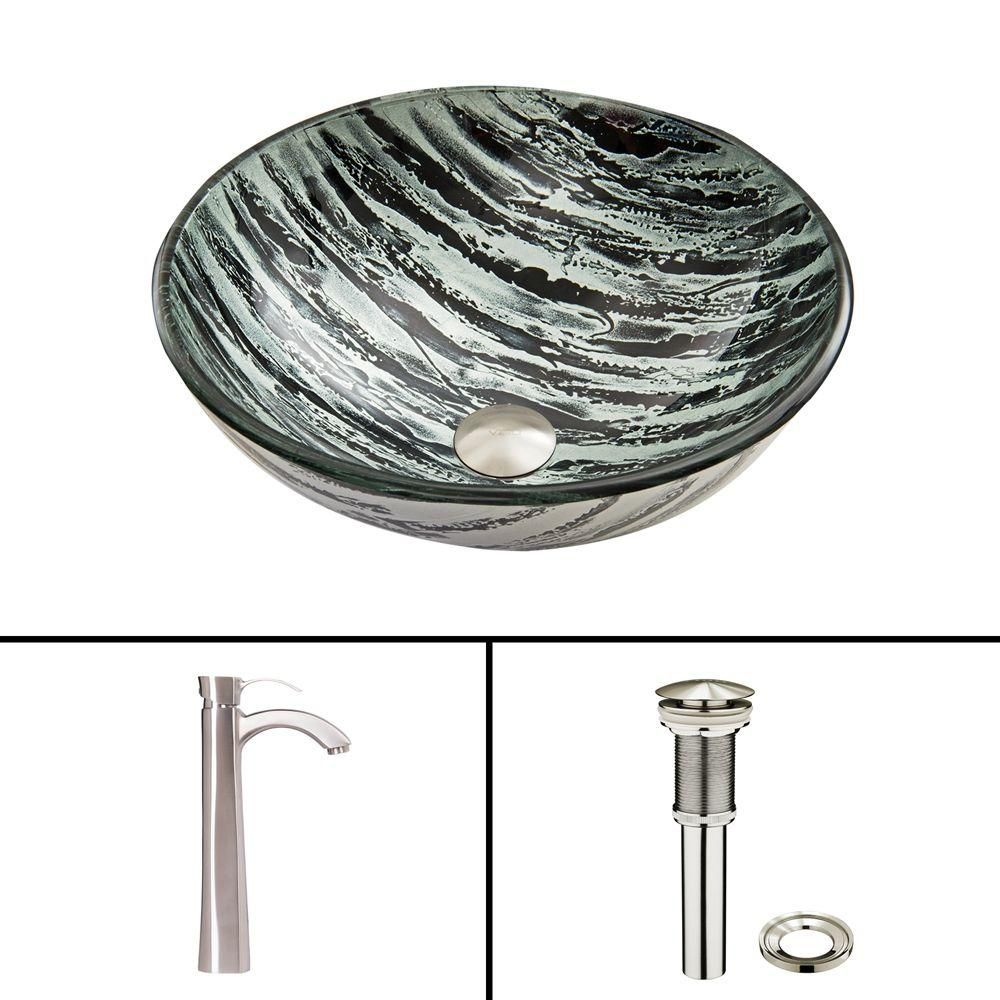 Glass Vessel Sink in Rising Moon with Otis Faucet in Brushed Nickel
