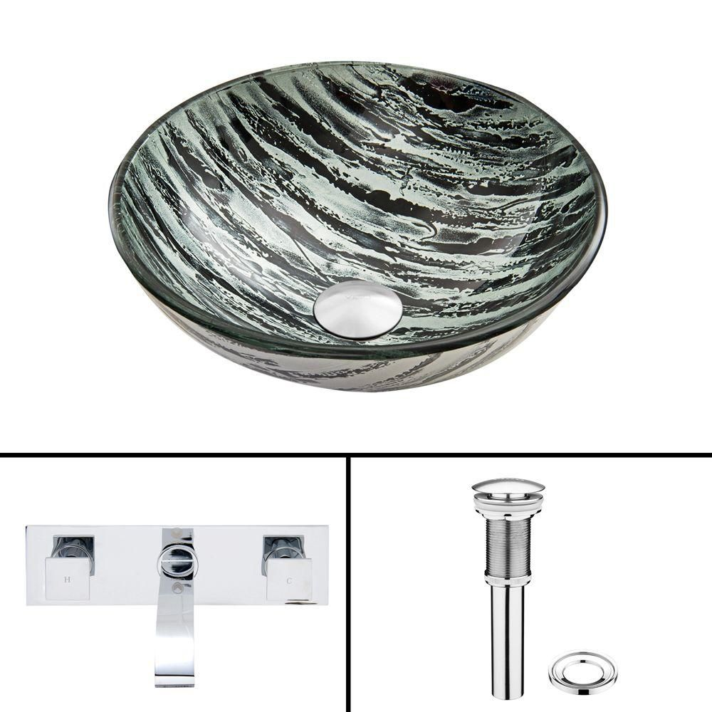 Glass Vessel Sink in Rising Moon with Titus Wall-Mount Faucet in Chrome