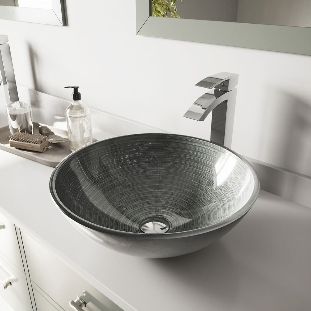 Glass Vessel Sink in Simply Silver with Duris Faucet in Chrome