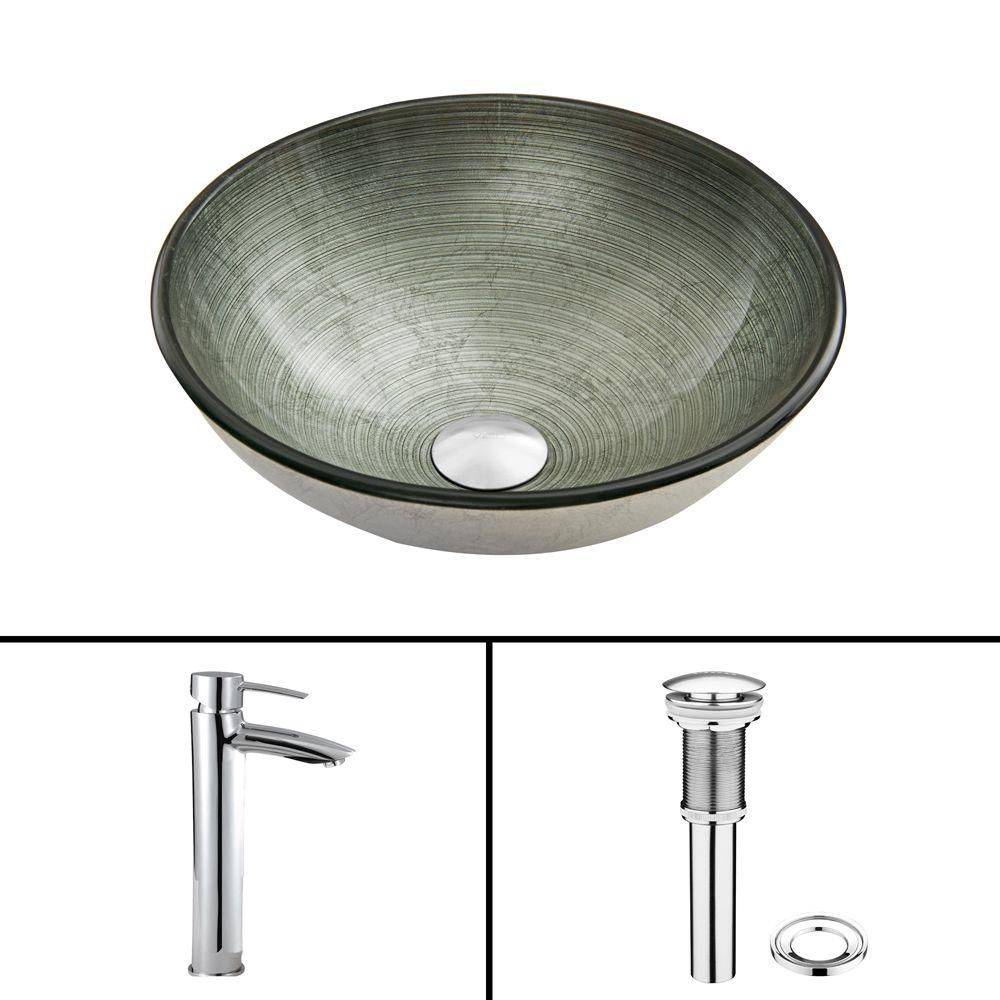 Glass Vessel Sink in Simply Silver with Shadow Faucet in Chrome
