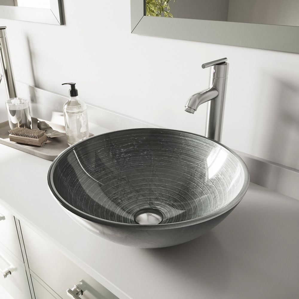 Glass Vessel Sink in Simply Silver with Seville Faucet in Brushed Nickel