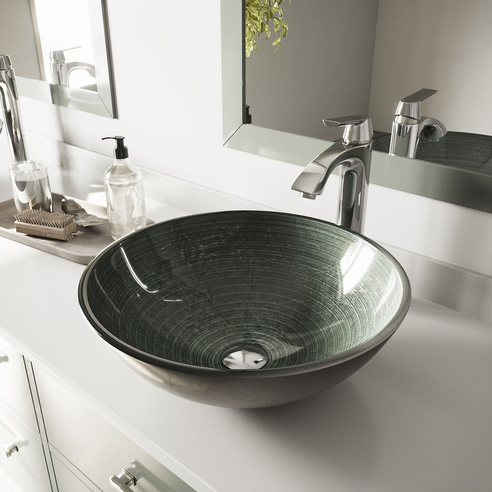 Vigo Glass Vessel Sink in Simply Silver with Linus Faucet in Chrome