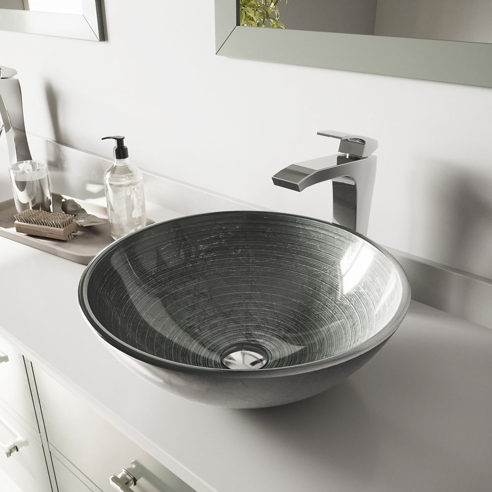 Glass Vessel Sink in Simply Silver with Blackstonian Faucet in Chrome