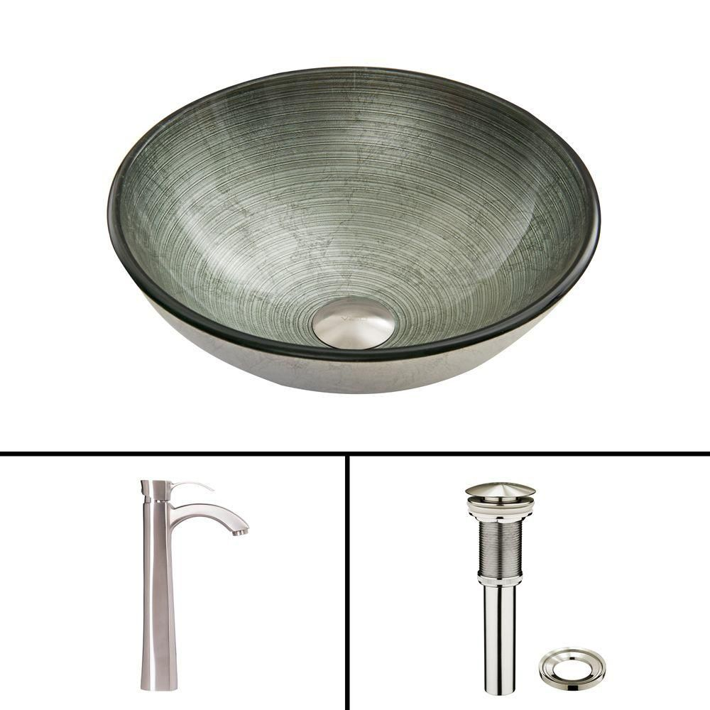 Glass Vessel Sink in Simply Silver with Otis Faucet in Brushed Nickel