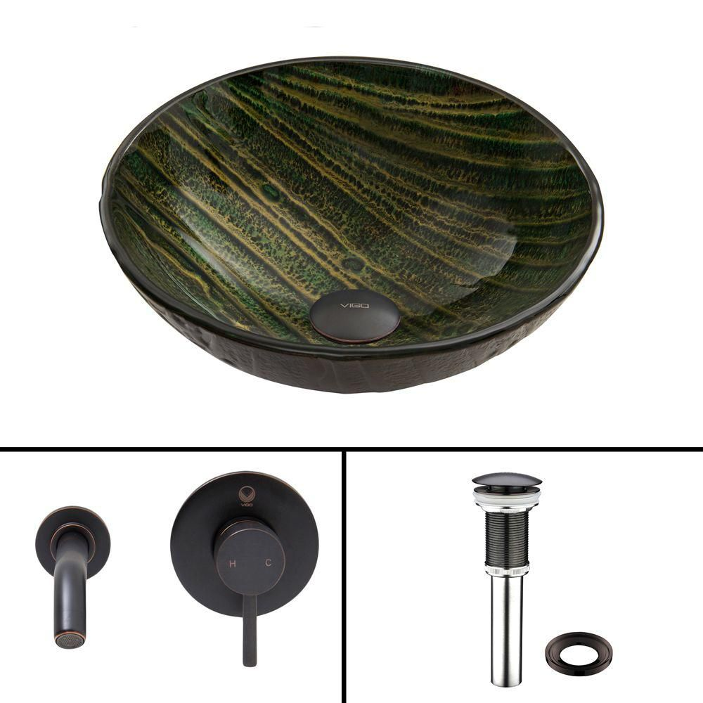 Glass Vessel Sink in Green Asteroid with Olus Wall-Mount Faucet in Antique Rubbed Bronze