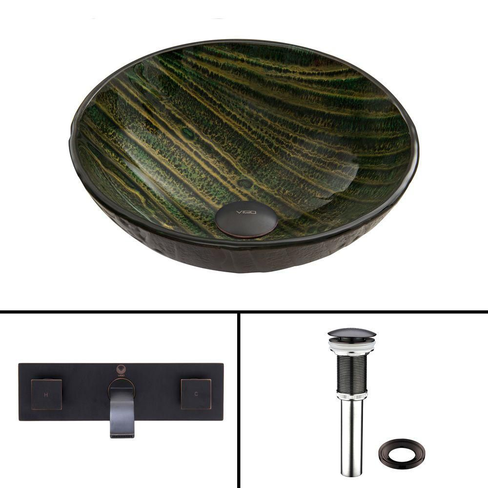 Glass Vessel Sink in Green Asteroid with Titus Wall-Mount Faucet in Antique Rubbed Bronze