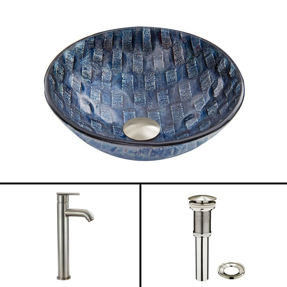 Glass Vessel Sink in Rio with Seville Faucet in Brushed Nickel