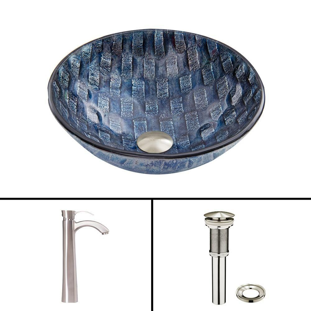 Glass Vessel Sink in Rio with Otis Faucet in Brushed Nickel