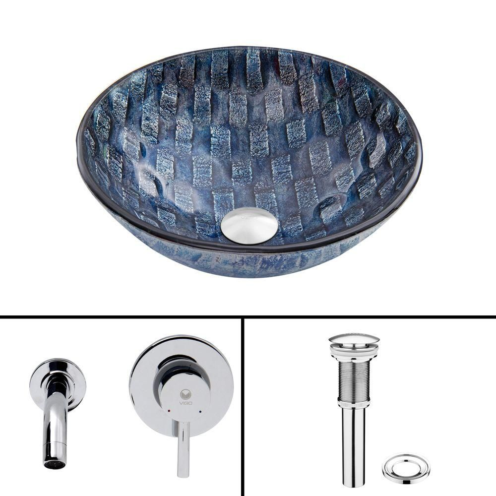 Glass Vessel Sink in Rio with Olus Wall-Mount Faucet in Chrome
