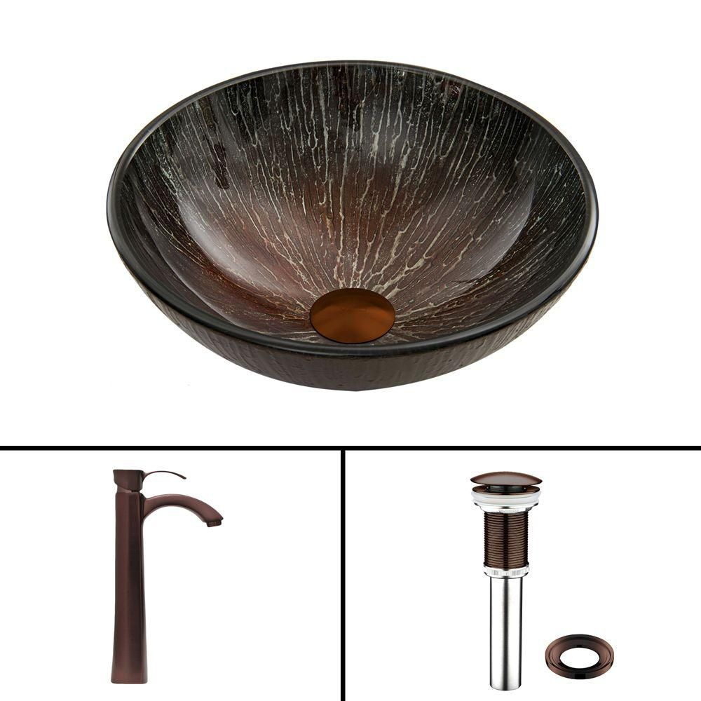 Glass Vessel Sink in Enchanted Earth with Otis Faucet in Oil-Rubbed Bronze
