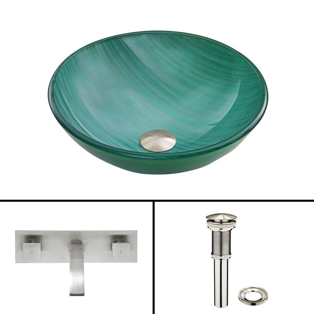 Glass Vessel Sink in Whispering Wind with Titus Wall-Mount Faucet in Brushed Nickel