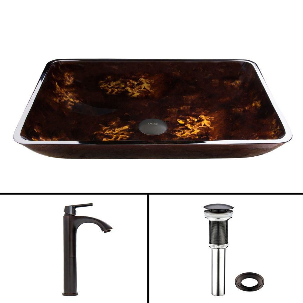 Rectangular Glass Vessel Sink in Brown and Gold Fusion with Linus Faucet in Antique Rubbed Bronze
