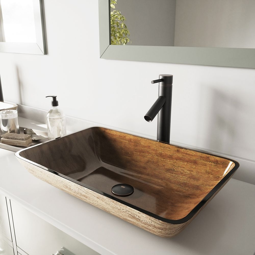 Rectangular Glass Vessel Sink in Amber Sunset with Dior Faucet in Antique Rubbed Bronze