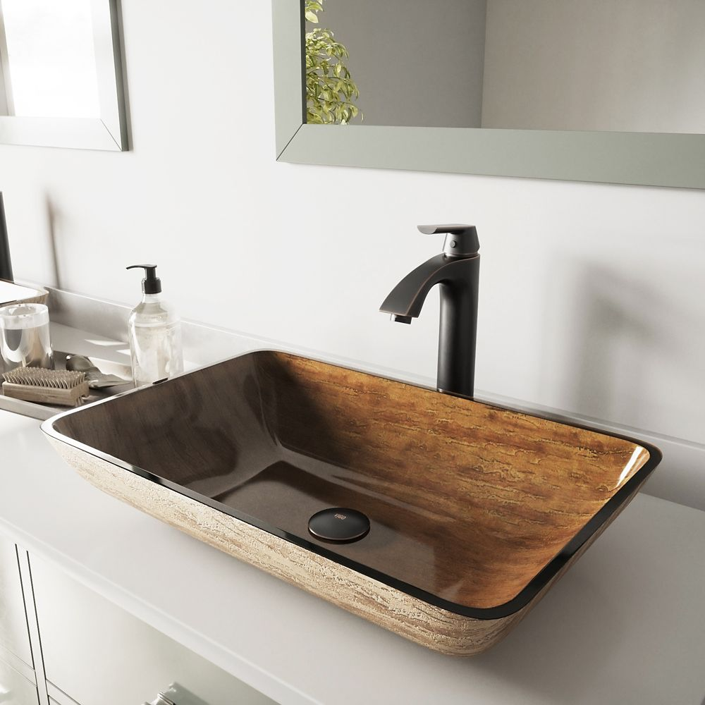 Rectangular Glass Vessel Sink in Amber Sunset with Linus Faucet in Antique Rubbed Bronze