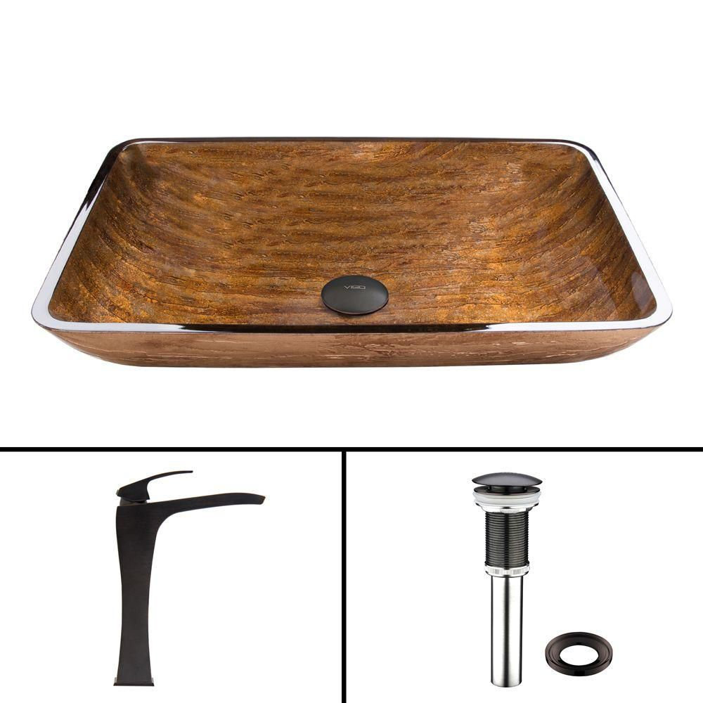Vigo Rectangular Glass Vessel Sink in Amber Sunset with Blackstonian Faucet in Antique Rubbed Bronze