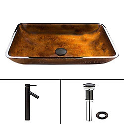 VIGO Rectangular Glass Vessel Sink in Russet with Dior Faucet in Antique Rubbed Bronze