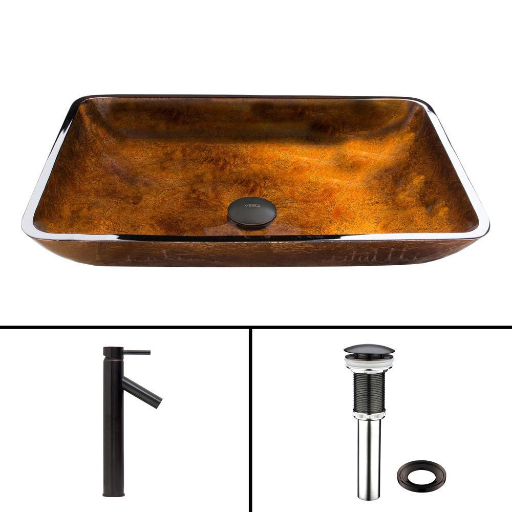 Rectangular Glass Vessel Sink in Russet with Dior Faucet in Antique Rubbed Bronze