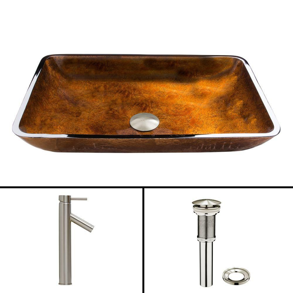 Glass Vessel Sink in Rectangular Rusin with Dior Faucet in Brushed Nickel