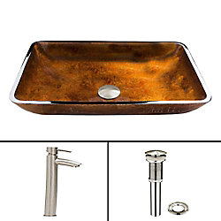 VIGO Glass Vessel Bathroom Sink in Russet and Shadow Faucet Set in Brushed Nickel