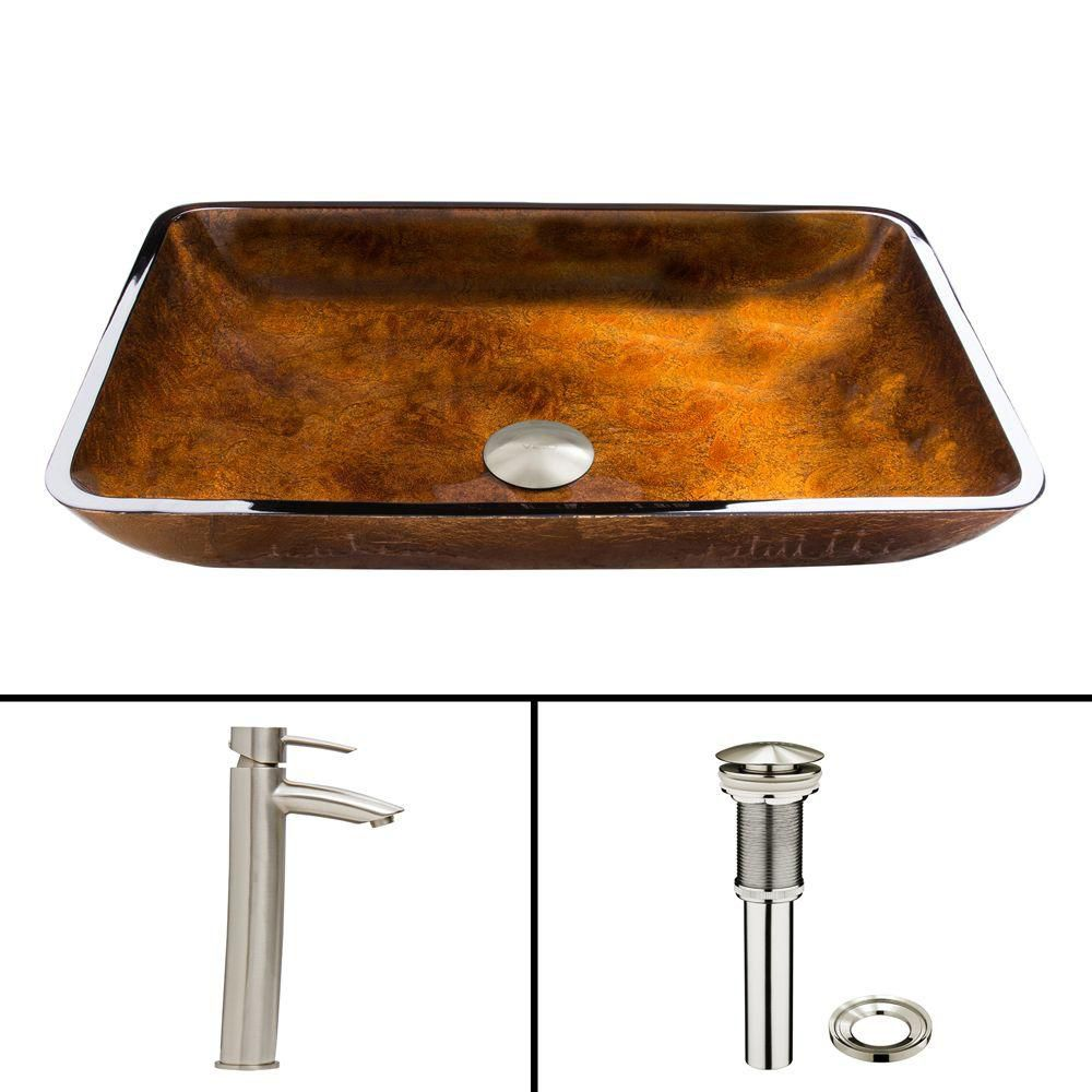 Glass Vessel Sink in Rectangular Rusin with Shadow Faucet in Brushed Nickel