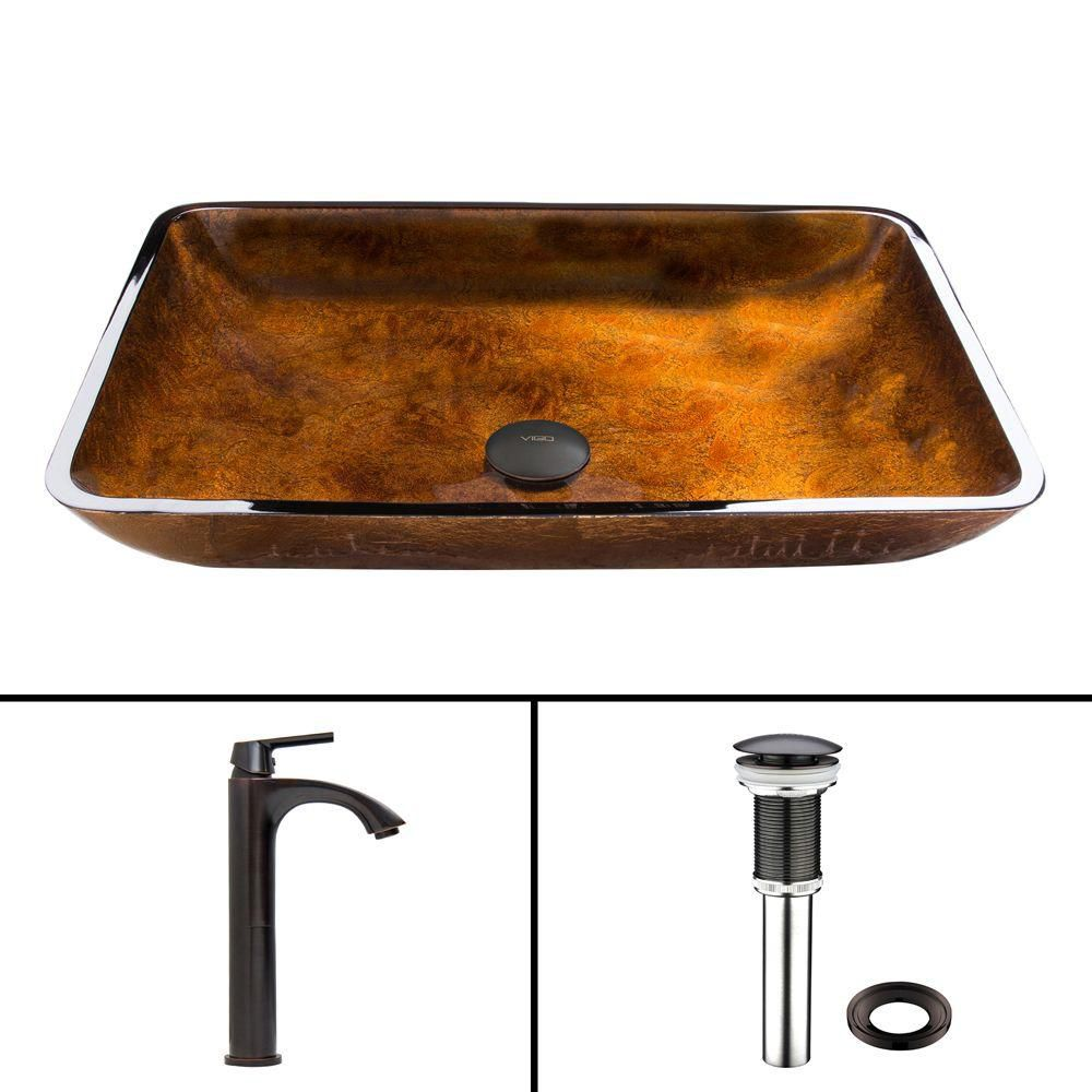 Rectangular Glass Vessel Sink in Russet with Linus Faucet in Antique Rubbed Bronze