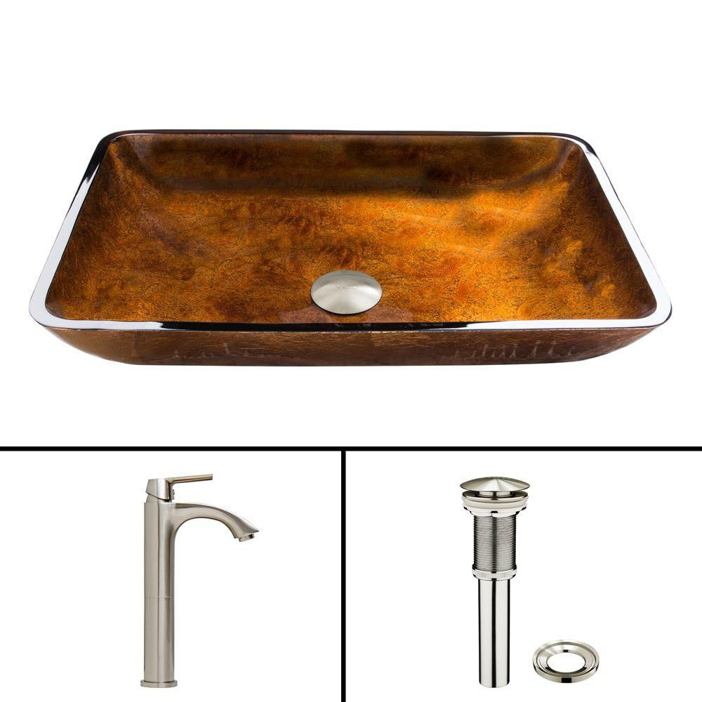 Glass Vessel Sink in Rectangular Rusin with Linus Faucet in Brushed Nickel