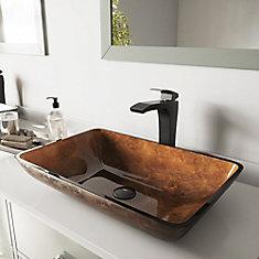 Ensemble de vasque de salle de bains en verre rectangulaire de 22 po Russet de  et robinet bronze antique Blackstonian