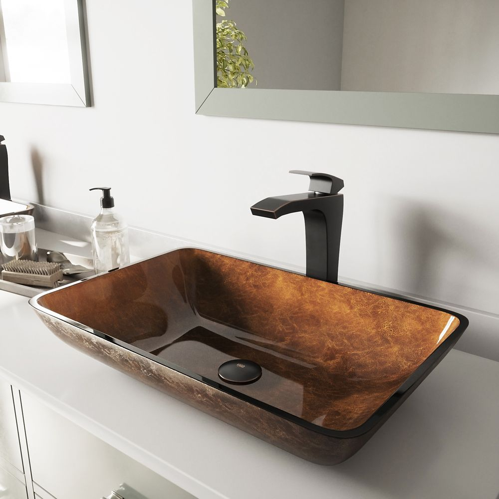 Rectangular Glass Vessel Sink in Russet with Blackstonian Faucet in Antique Rubbed Bronze