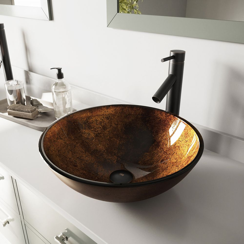 Glass Vessel Sink in Russet with Dior Faucet in Antique Rubbed Bronze