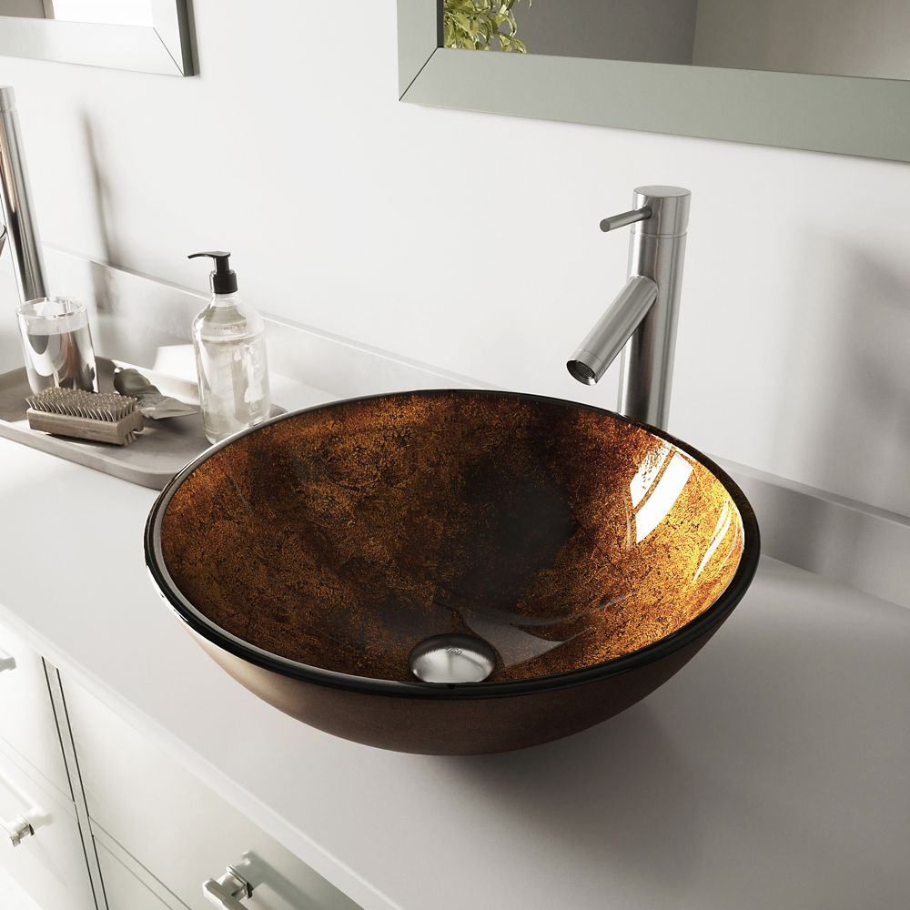 Glass Vessel Sink in Rusin with Dior Faucet in Brushed Nickel