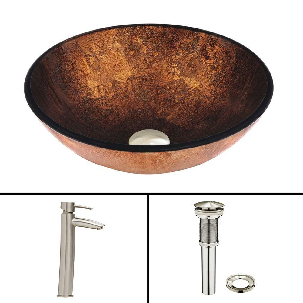 Glass Vessel Sink in Rusin with Shadow Faucet in Brushed Nickel