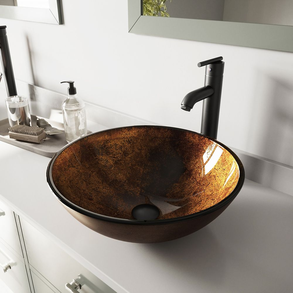Glass Vessel Sink in Russet with Seville Faucet in Matte Black