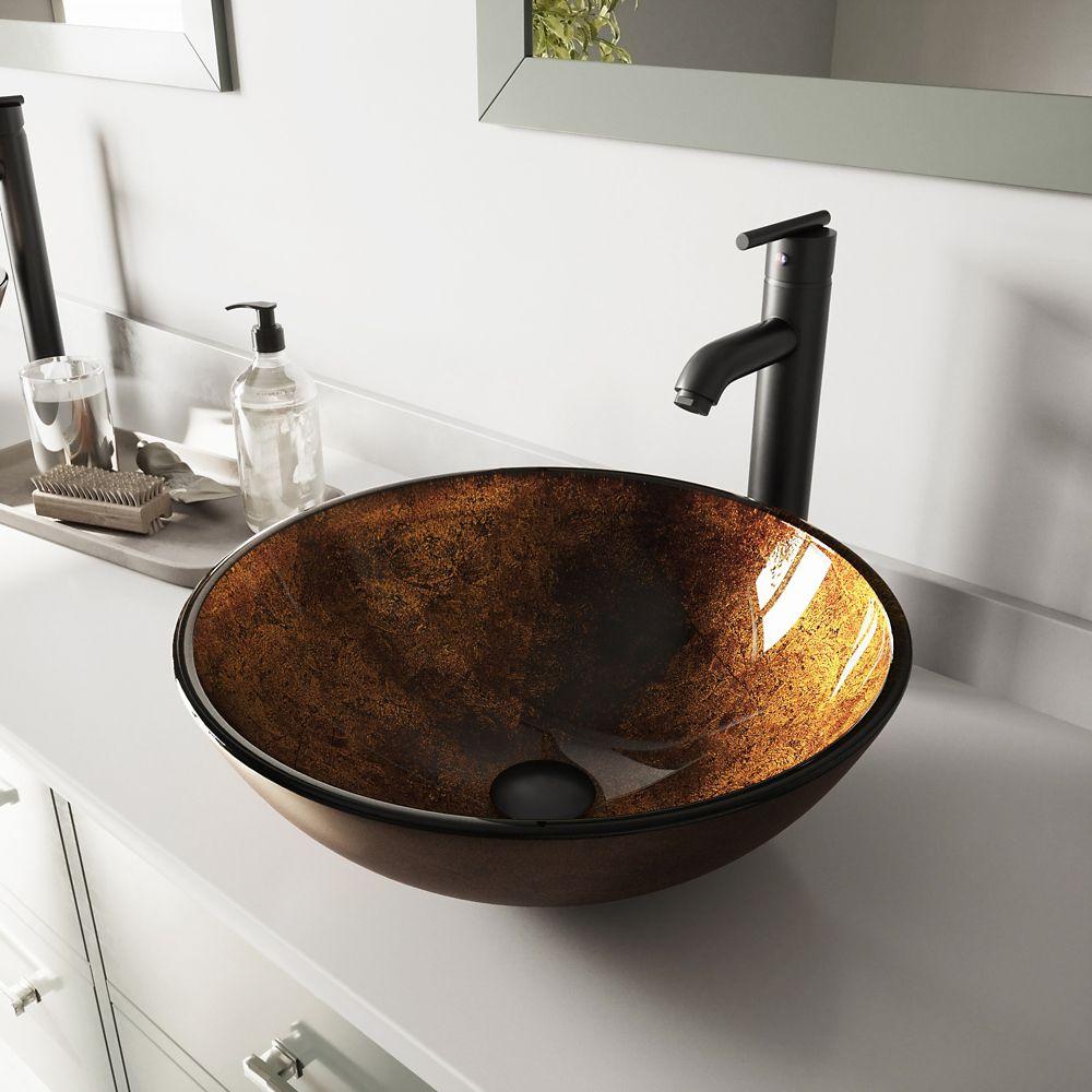 Vigo Glass Vessel Sink in Russet with Seville Faucet in Matte Black