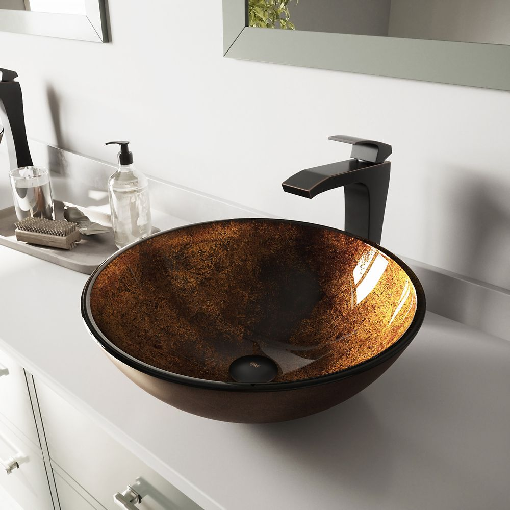 Glass Vessel Sink in Russet with Blackstonian Faucet in Antique Rubbed Bronze