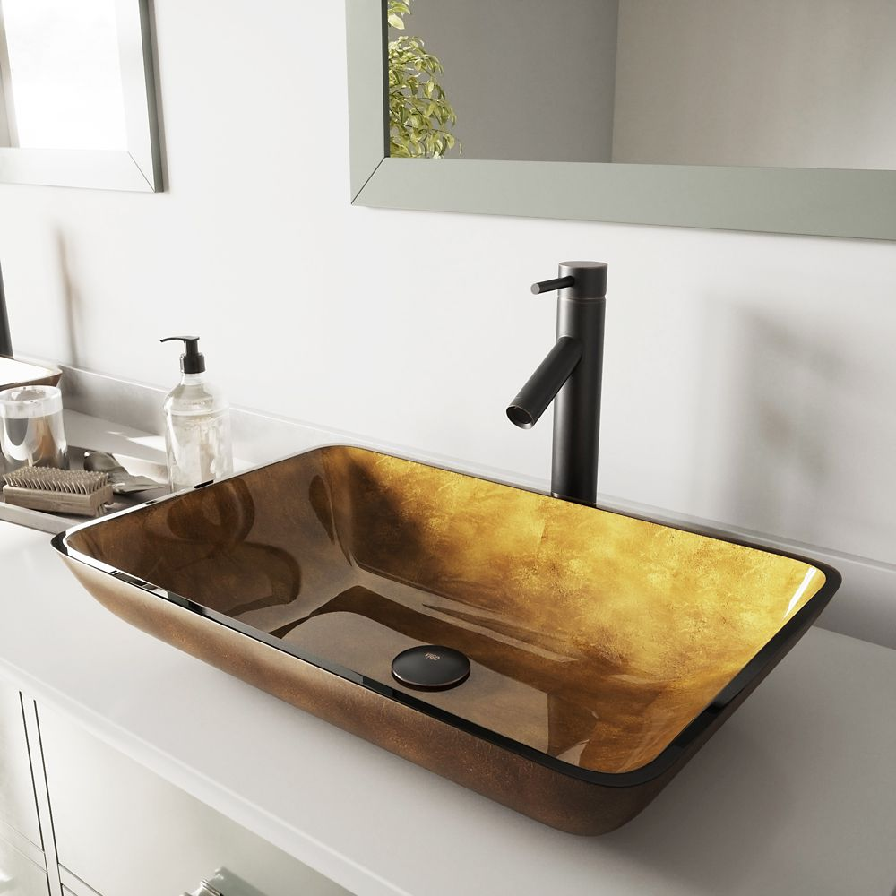 Rectangular Glass Vessel Sink in Copper with Dior Faucet in Antique Rubbed Bronze
