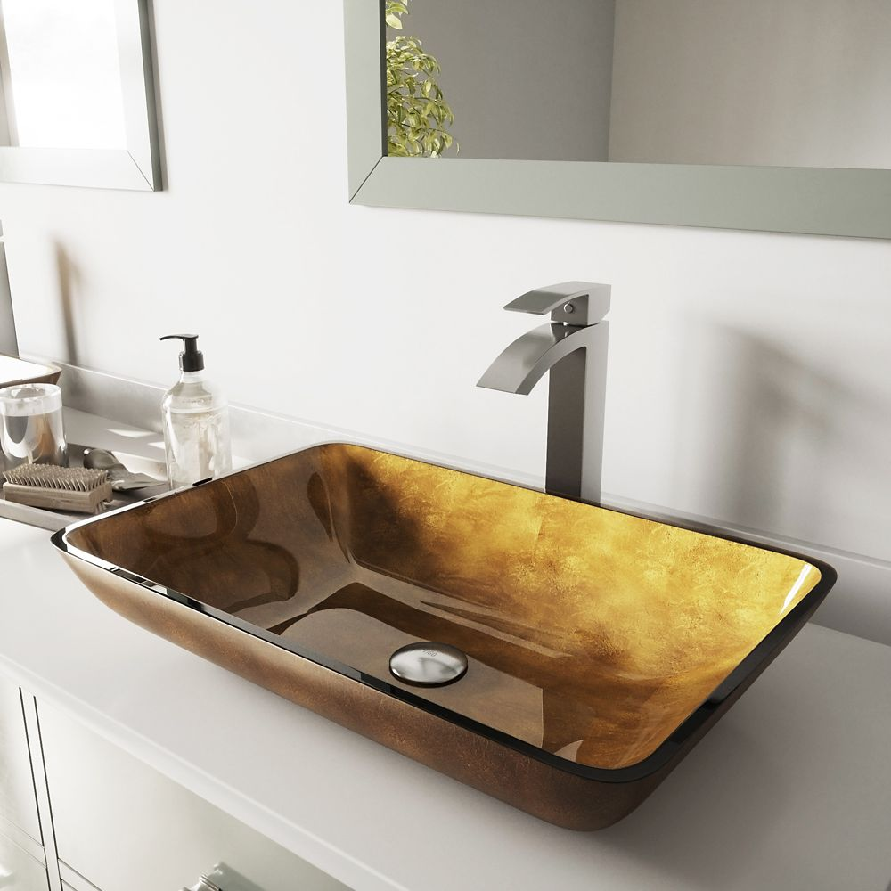 Vigo Glass Vessel Sink in Rectangular Copper with Duris Faucet in Brushed Nickel