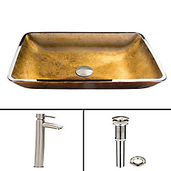 VIGO Glass Vessel Sink in Rectangular Copper with Shadow Faucet in Brushed Nickel