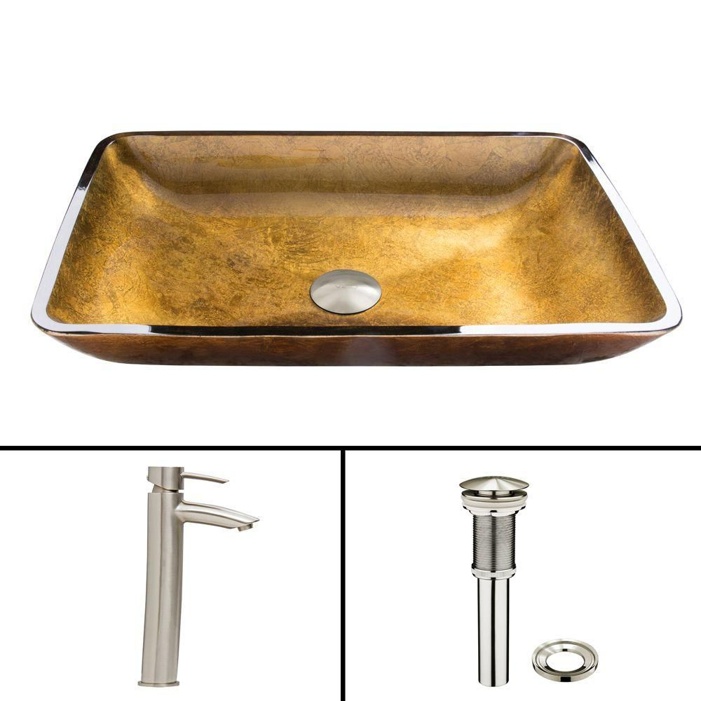 Ensemble  Rectangular Copper Lavabo en verre et robinet Shadow en nickel brossé