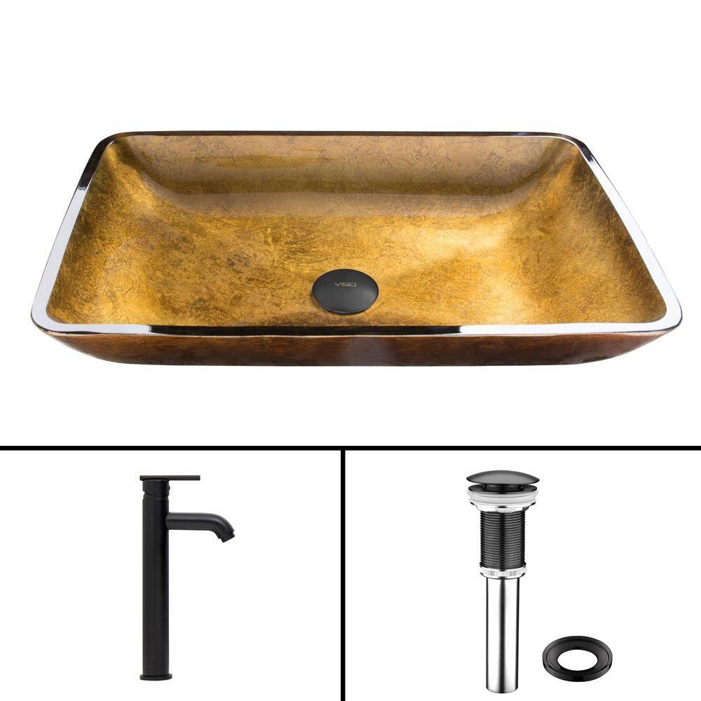 Glass Vessel Sink in Rectangular Copper with Seville Faucet in Matte Black