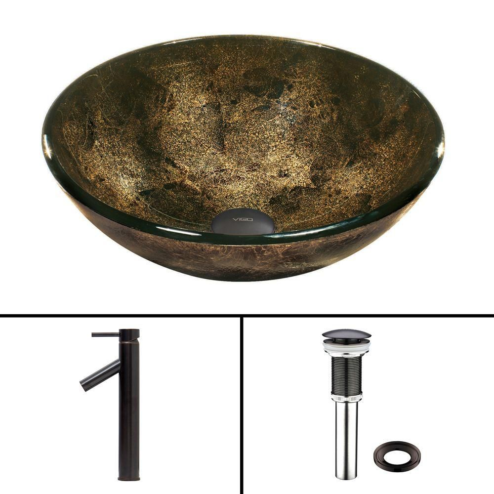 Glass Vessel Sink in Sintra with Dior Faucet in Antique Rubbed Bronze