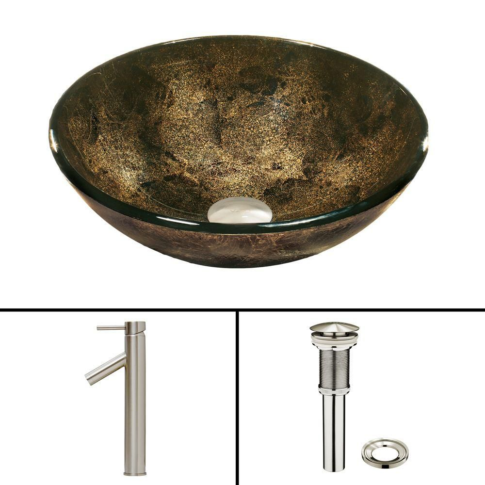 Glass Vessel Sink in Sintra with Dior Faucet in Brushed Nickel