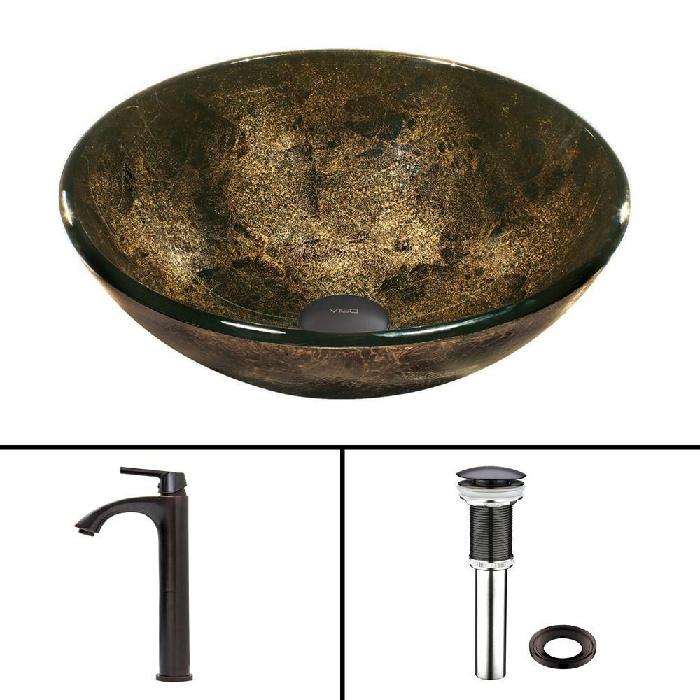 Glass Vessel Sink in Sintra with Linus Faucet in Antique Rubbed Bronze