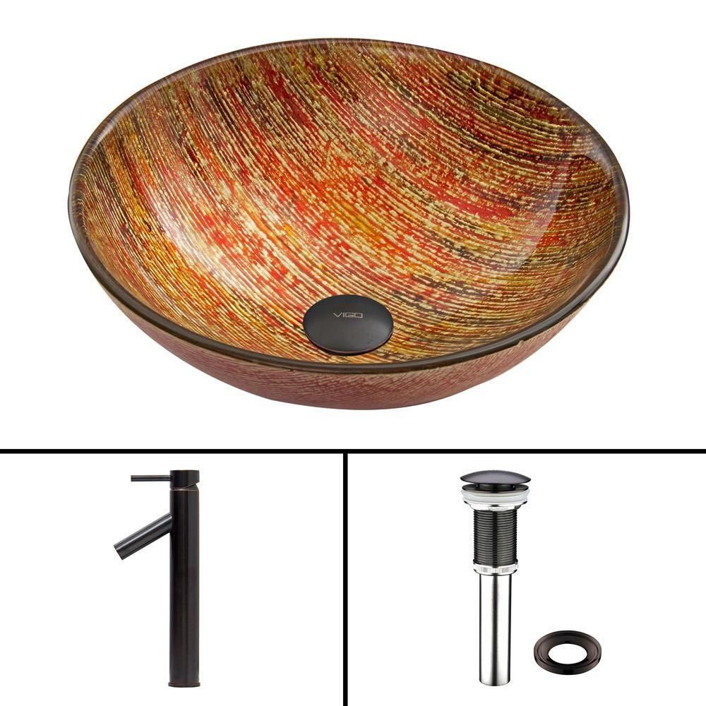 Glass Vessel Sink in Blazing Fire with Dior Faucet in Antique Rubbed Bronze