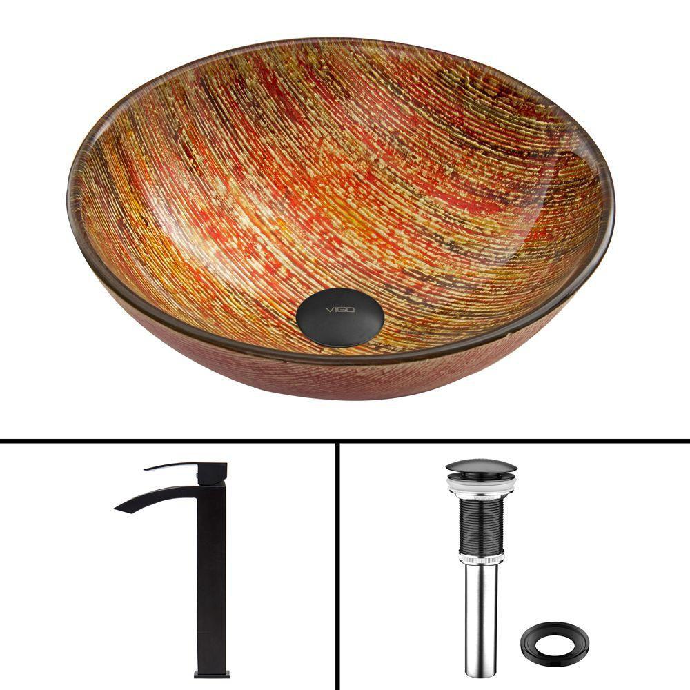 Ensemble Blazing Fire Lavabo en verre et robinet Duris noir mat